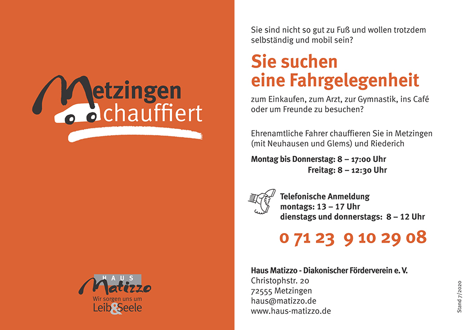 Metzingen Chauffiert - Flyer Juli 2020