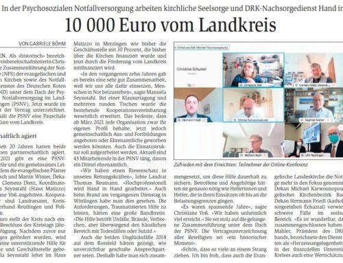 10.000 Euro vom Kreis für Psychosoziale Notfallversorgung Reutlingen – GEA 11.03.2021
