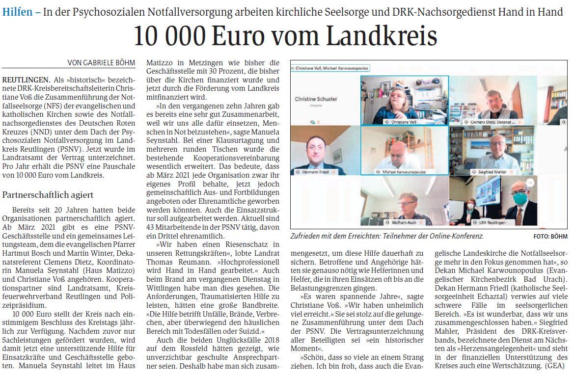 GEA vom 11.03.2021 - Jährlich 10.000 Euro vom Kreis für Psychosoziale Notfallversorgung Reutlingen