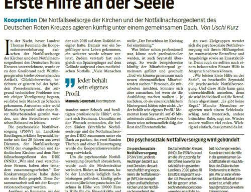 Erste Hilfe an der Seele – Schwäbisches Tagblatt 10.03.2021