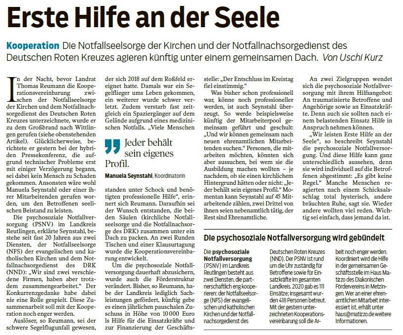 Erste Hilfe an der Seele - Schwäbisches Tagblatt-10.03.2021